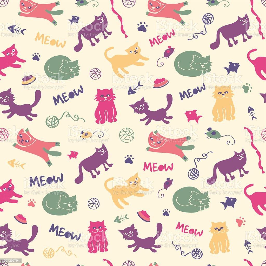 Ilustración de Gato Vintage Patrón Sin Costuras De Colores y más ...