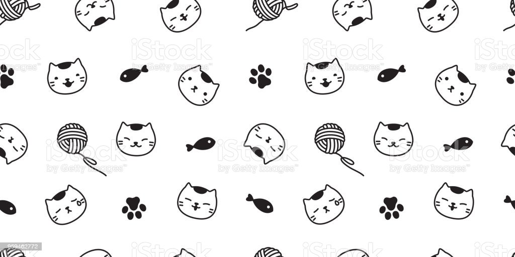 Cat Seamless Pattern Paw Kitten Vector Scarf Isolated Background ...
