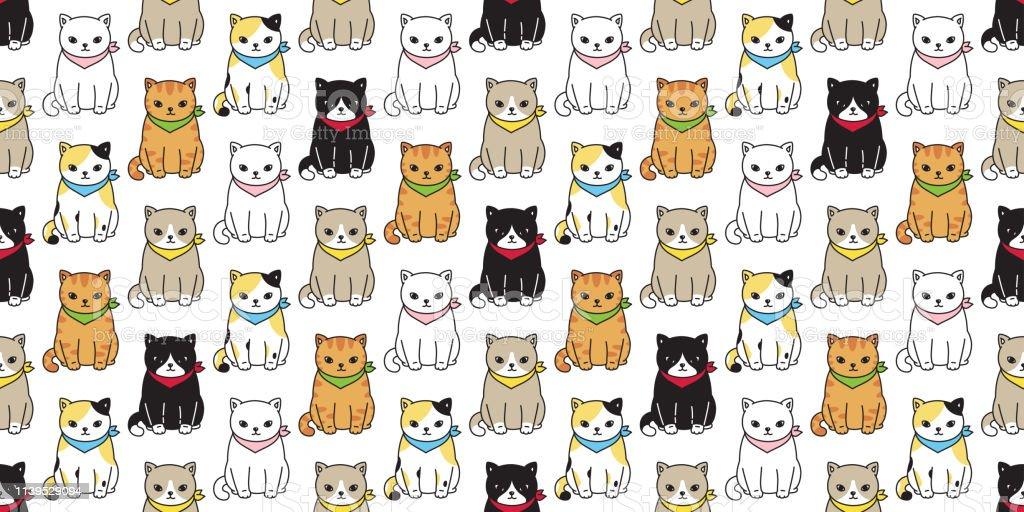Cat Seamless Pattern Vector Calico Black Kitten Ginger Pet Repeat