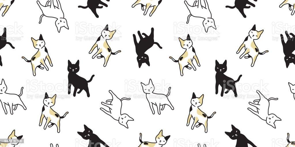 cat seamless Pattern vector calico isolated kitten background wallpaper repeat cartoon vector art illustration