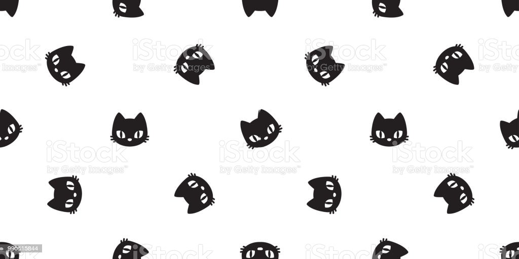 Cat Seamless Pattern Vector Calico Kitten Halloween Tile Background Scarf Isolated Wallpaper Il Ration