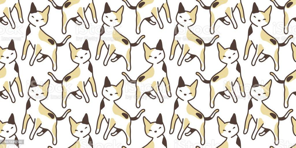 cat seamless Pattern vector calico kitten isolated background repeat wallpaper cartoon vector art illustration