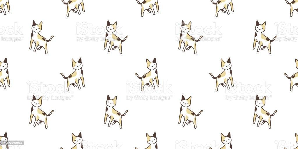 cat seamless Pattern vector calico kitten isolated background wallpaper cartoon vector art illustration