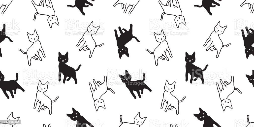cat seamless Pattern vector calico kitten isolated background wallpaper cartoon repeat vector art illustration