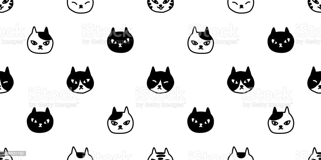 Cat Seamless Pattern Vector Cat Breed Halloween Isolated