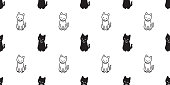 cat seamless Pattern vector Halloween isolated background repeat wallpaper cartoon