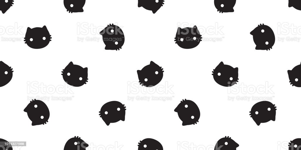 Cat Seamless Pattern Vector Halloween Kitten Calico Scarf Isolated Tile Background Repeat Wallpaper Royalty Free