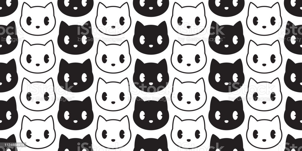 Cat Seamless Pattern Vector Head Kitten Calico Black Scarf Isolated Repeat Wallpaper Cartoon Tile Background Illustration Stock Illustration Download Image Now Istock