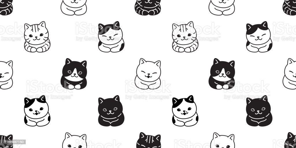 cat seamless pattern vector kitten breed scarf isolated repeat...