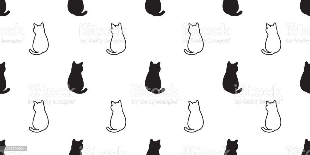 猫のシームレスなパターン ベクトル子猫三毛猫ねこネコ漫画スカーフ分離