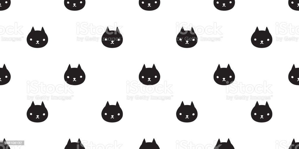 cat seamless Pattern vector kitten calico Halloween isolated wallpaper background cartoon vector art illustration