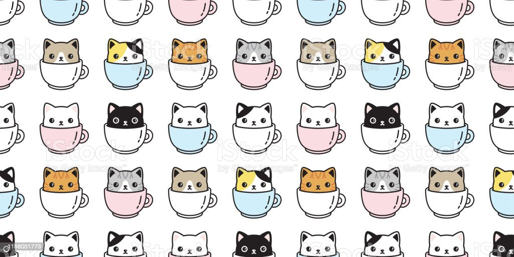 cat seamless pattern vector kitten coffee cup calico breed scarf...