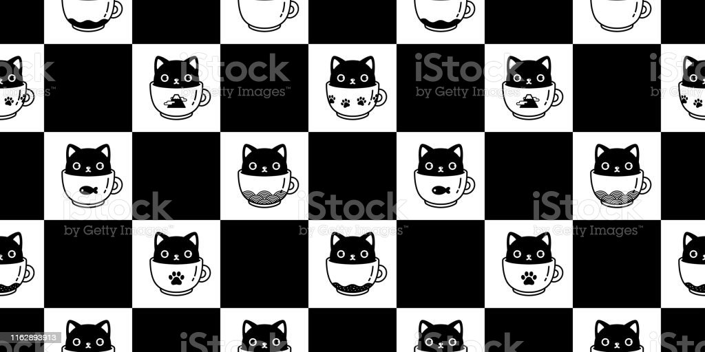 Cat Seamless Pattern Vector Kitten Coffee Cup Tea Scarf Isolated