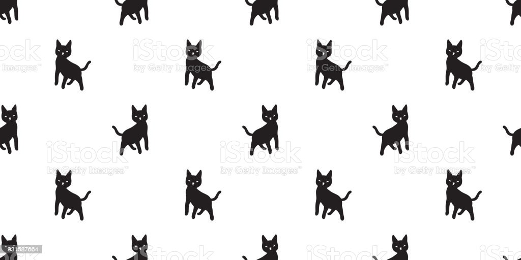 cat seamless Pattern vector kitten Halloween isolated wallpaper cartoon background vector art illustration