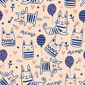 istock Cat seamless pattern with cute doodle drawing. Vector illustration for baby and kids. 1217836737