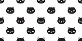 cat Seamless vector pattern black kitten calico Halloween tile background scarf isolated repeat wallpaper