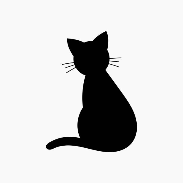 Cat shape icon vector art illustration
