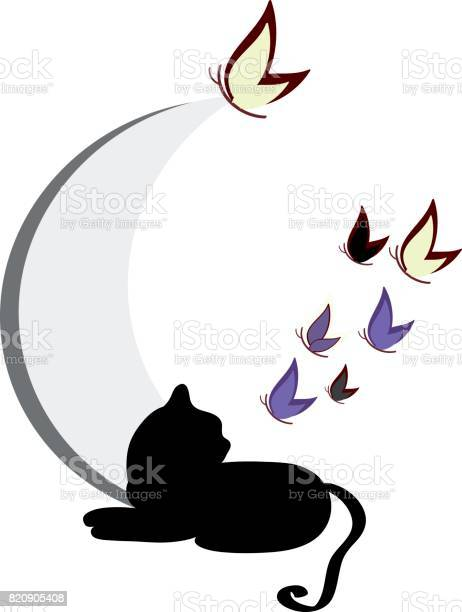 Cat silhouette with butterflies isolated on background vector vector id820905408?b=1&k=6&m=820905408&s=612x612&h=hylevi gbv7u76czhxyitlbrahy22ejywpaaablmjqg=