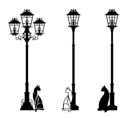 cat sitting by street light black vector silhouette