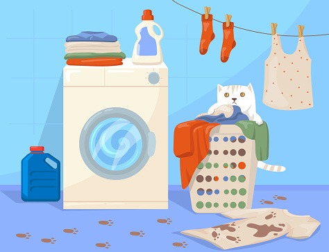 Cat sitting in laundry basket cartoon illustration