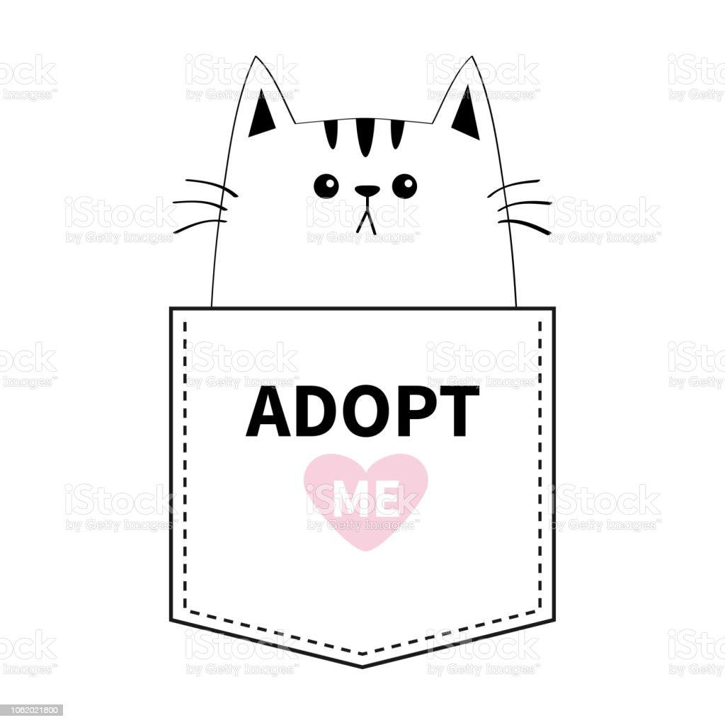 Chat Assis Dans La Poche Adoptezmoi Coeur Rose Animaux De Dessin