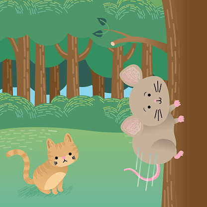 Cat Sitting in the Woods Watching a Mouse