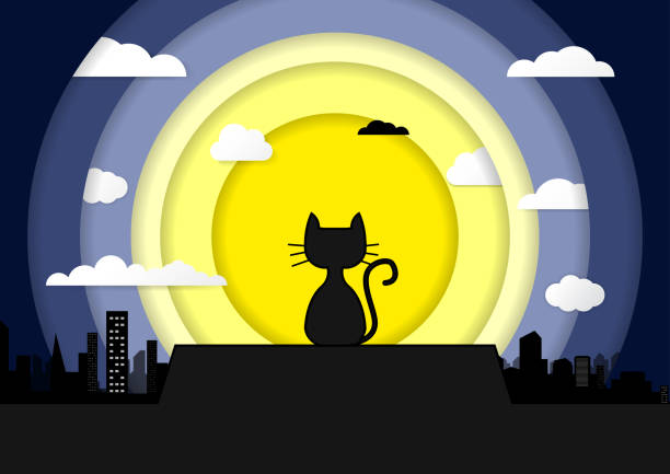 Cat sitting on a roof background of the moonlight Paper Art Cat sitting on a roof background of the moonlight Paper Art. All in a single layer. Vector illustration. Black cat on roof with moon town and starry night in the background. spooky halloween town stock illustrations