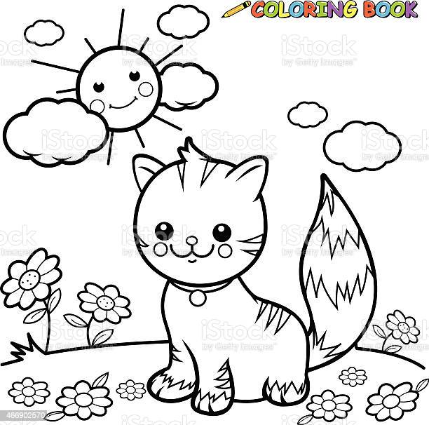 Cat sitting on grass coloring book page vector id466902570?b=1&k=6&m=466902570&s=612x612&h=fhwkq0baqzt6m vnbs9zkxav5o8bs7hojort6kojo2m=