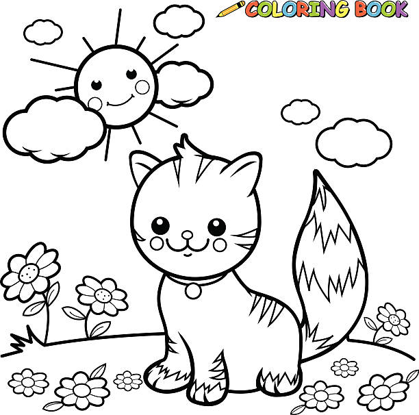 Cat Sitting On Grass Coloring Book Page Vector Art Illustration