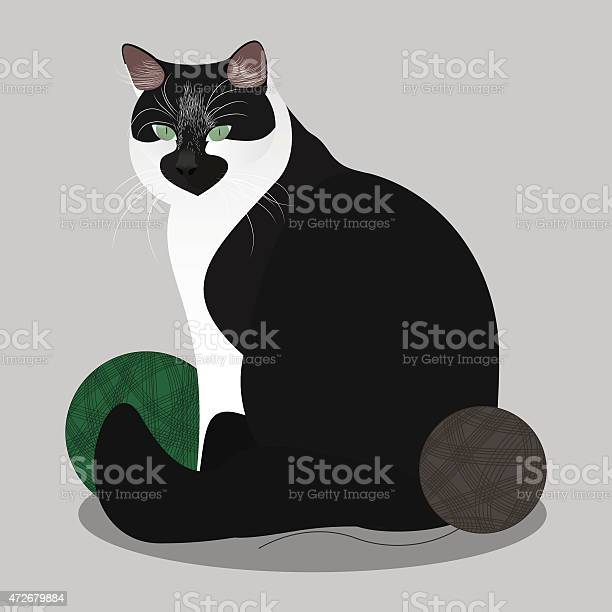Cat sitting with yarn balls vector illustration vector id472679884?b=1&k=6&m=472679884&s=612x612&h=ffptczl5iyrmbhqgpvejhj g jrbjmh96oyceri6yp0=