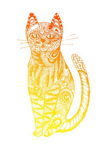 Cat sitting zentangle stylized, vector, illustration, pattern, freehand pencil, hand drawn. Zen art. Ornate. Lace.