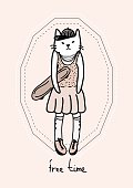 hand drawn teenager cat with a skate