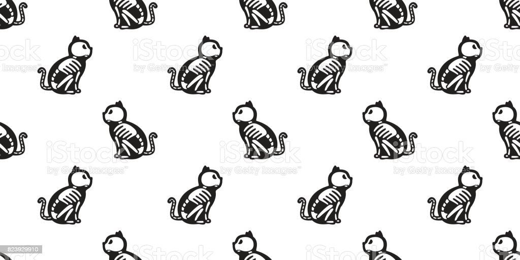 Cat Skull bone skeleton. Ghost Halloween. Seamless pattern background wallpaper vector art illustration