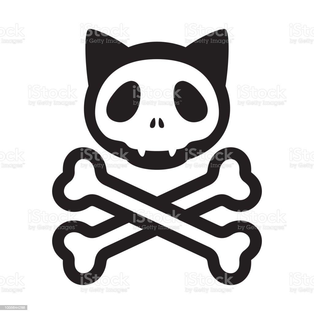Tete De Mort Crane Chat Vector Pirate Dicone Logo Halloween Chaton