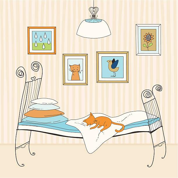 katze schläft auf bett - stapelbett stock-grafiken, -clipart, -cartoons und -symbole