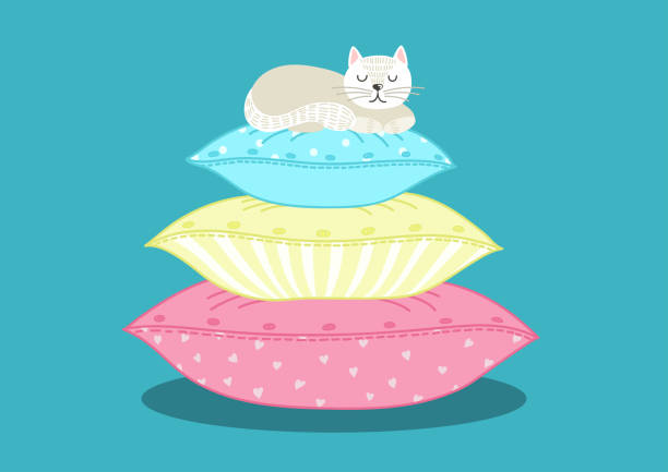 Best Stack Of Pillows Illustrations Royalty Free Vector