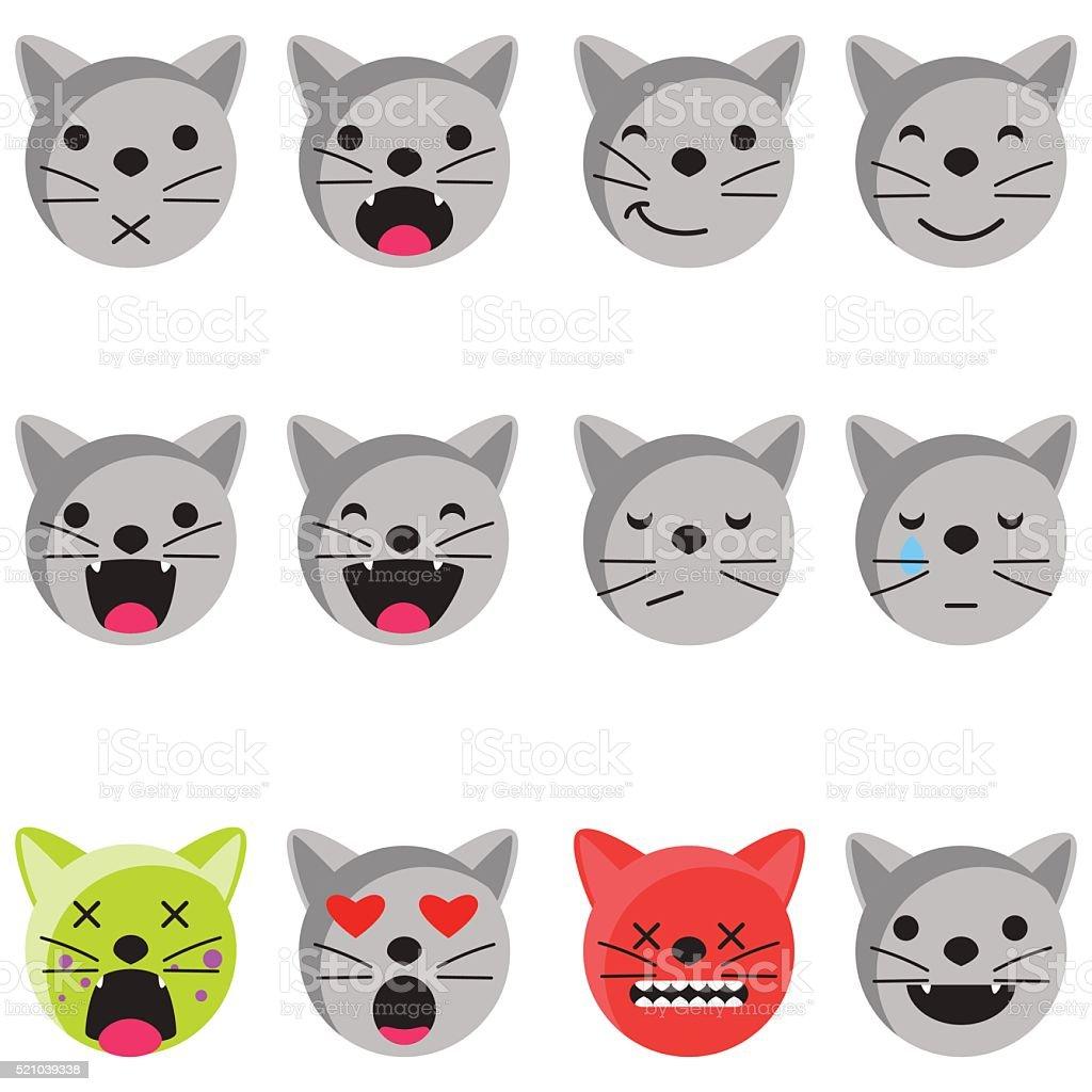 Chat sourire Emoji ensemble. Émoticon icône de vecteur de style appartement - Illustration vectorielle