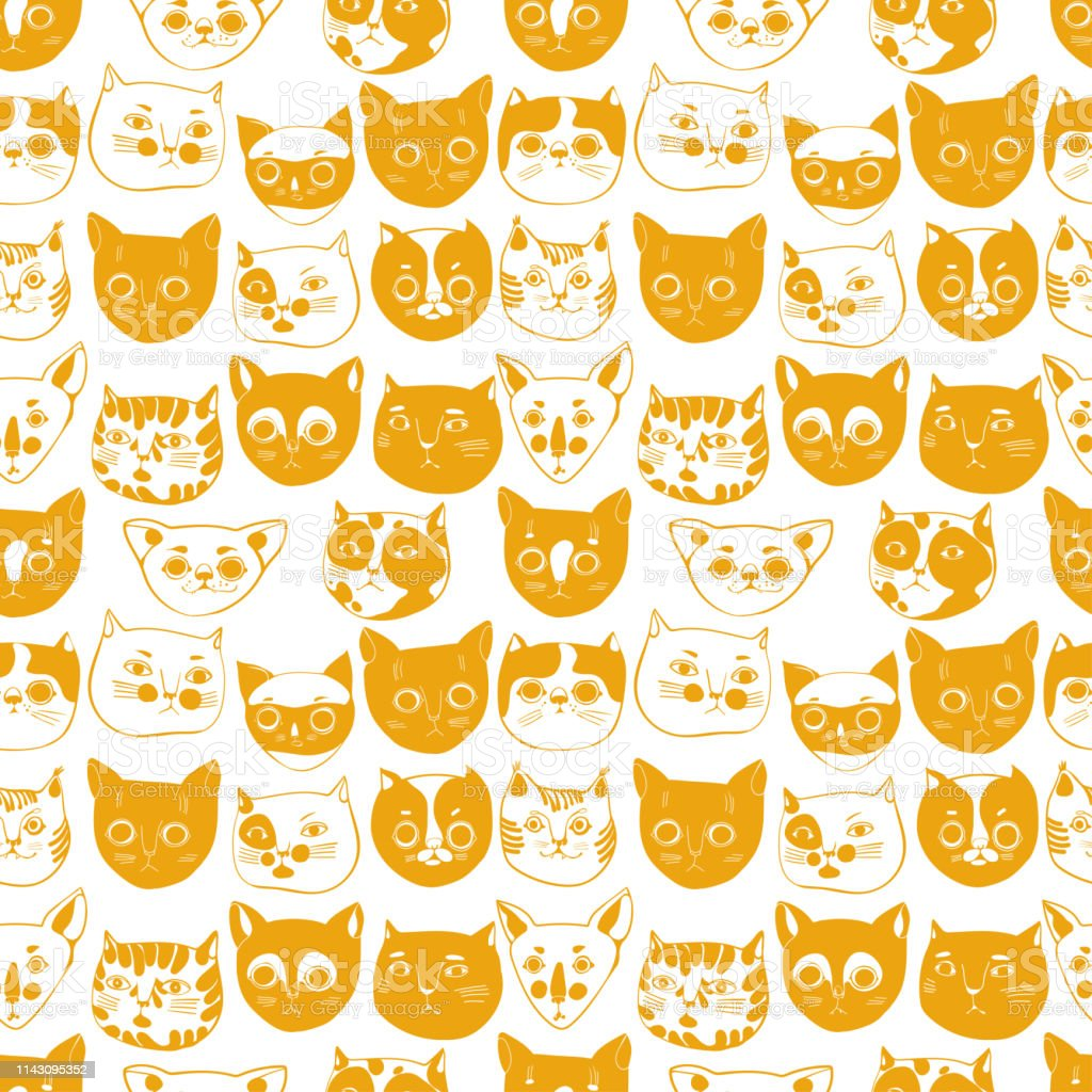cat snouts, cat breeds, seamless vector pattern on white background