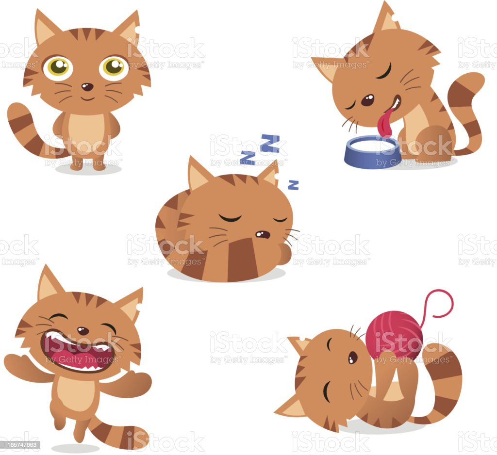 Cat standing drinking milk sleeping and playing with wool Set vector art illustration