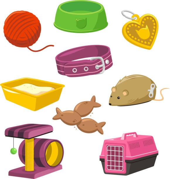 katze sachen spielzeug set aus der fütterung bowl maus spielen isle-muster - pelzmäntel stock-grafiken, -clipart, -cartoons und -symbole