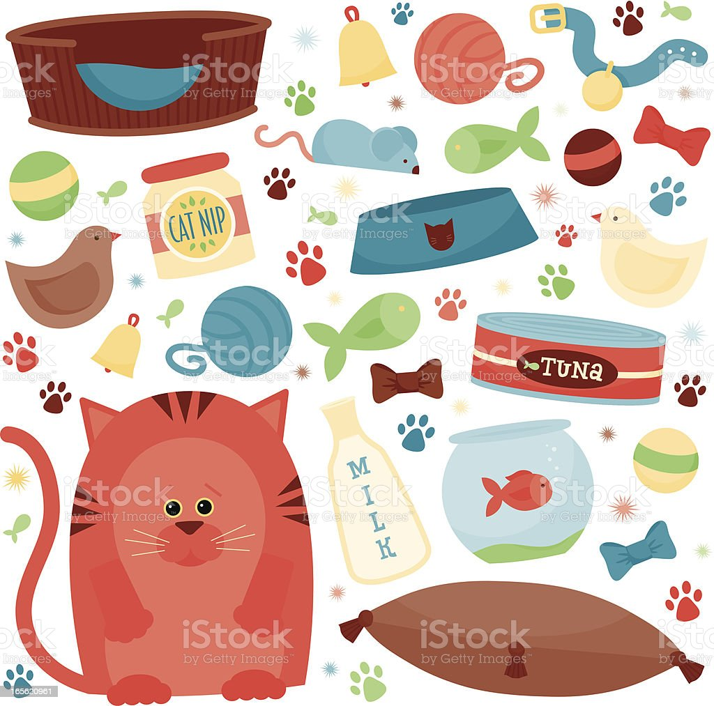 Cat Supplies royalty-free stock vector art
