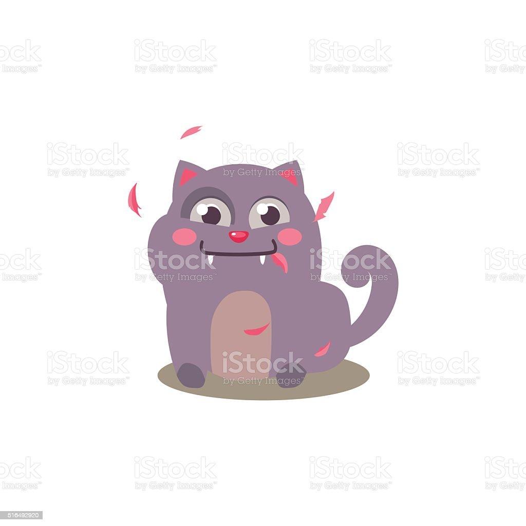 Cat Swallowed Bird vector art illustration