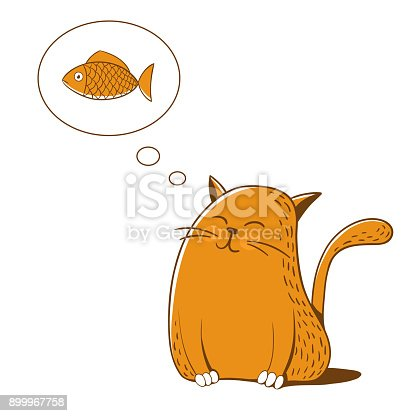 istock Cat thinks about fish. Vector illustration. 899967758