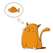 Cat thinks about fish. Vector illustration.