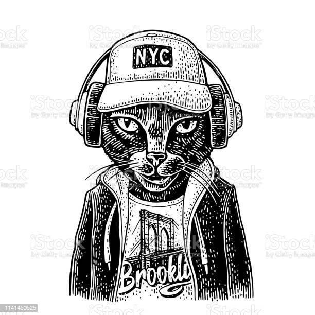 Cat to headphones dressed in the hoodie vintage black engraving vector id1141450525?b=1&k=6&m=1141450525&s=612x612&h=rnw5t2lkurahoi9jntzsrhsy89td5ap8lctom5yolvc=