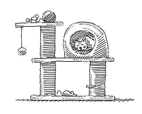 Cat Tower Scratching Post Drawing