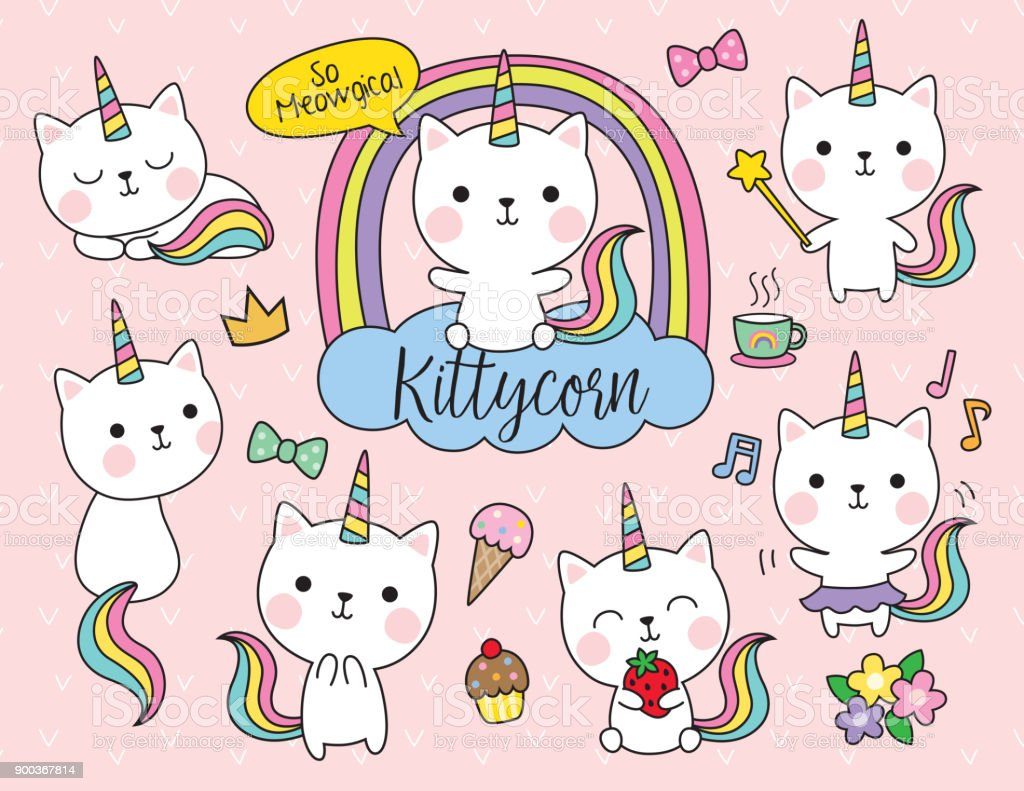 Cat Unicorn Vector Illustration Set