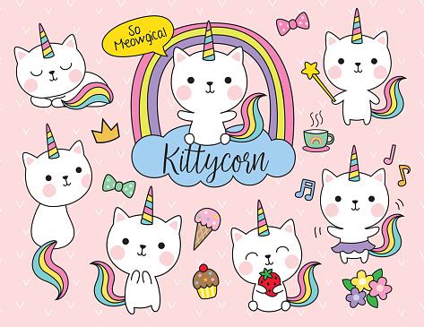 Cat Unicorn Vector Illustration Set