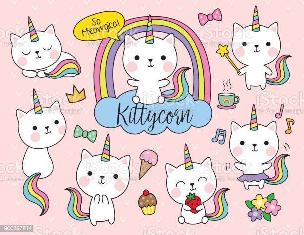 Cat unicorn vector illustration set vector id900367814?b=1&k=6&m=900367814&s=612x612&h=sumeny96irdf93qqqcu14goceg1e9bpq3ivnyhzku7u=
