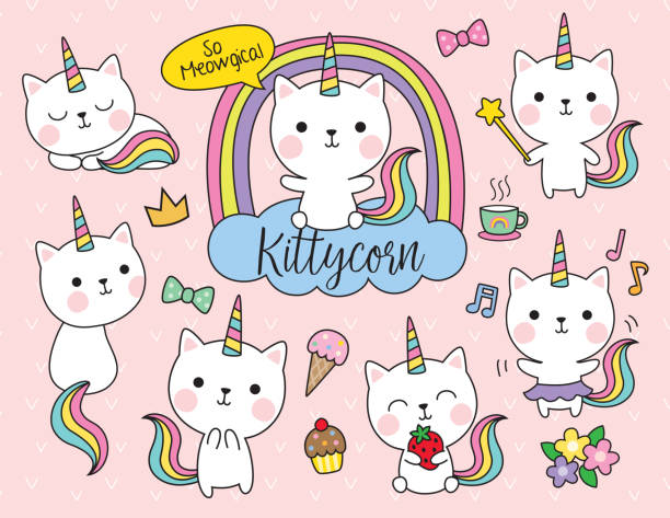 cat unicorn vector illustration set - cute stock illustrations